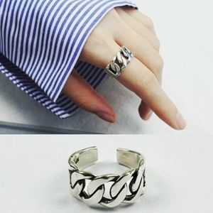 Sterling Silver Chain Style Open Wide Band Ring